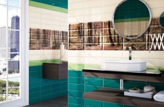 Niebieski i zielony kolor w łazience