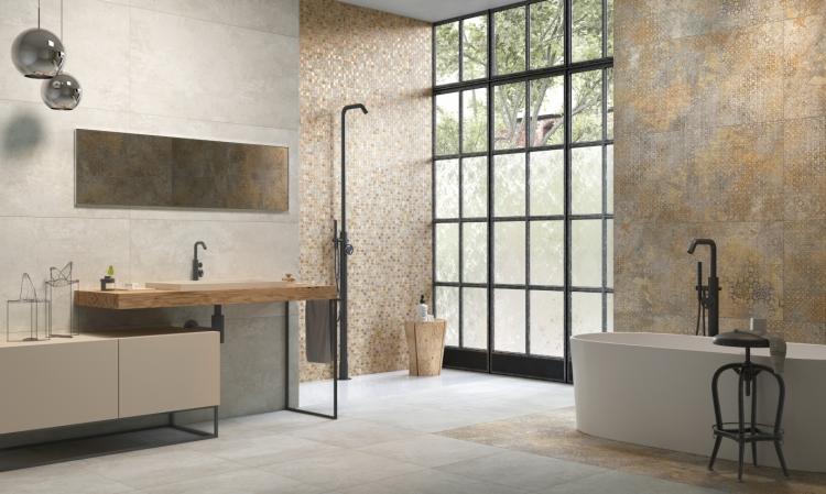 Nowoczesna aranżacja łazienki – beton oraz drewno