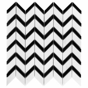 Mozaika Dunin Black&White Pure White Chevron Mix 31x30.5 cm