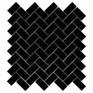 Mozaika Dunin Black&White Pure Black Herringbone 48 30.5x30.5 cm