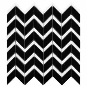 Mozaika Dunin Black&White Pure Black Chevron Mix 31x30.5 cm