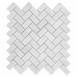 Mozaika Dunin Black&White Eastern White Herringbone 48 30.5x30.5 cm