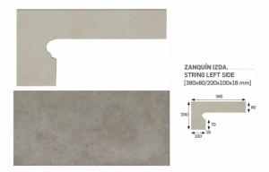 GRES ARAGON Capri Gris Zanquin Izda cokół stopnicowy lewy 8x39 cm 905106